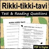 Rikki tikki tavi Test and Reading Questions - Printable & Digital