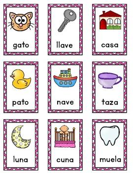 Rimas: Tarjetas de rimas para Kindergarten y Primero