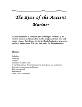 the rime of the ancient mariner teaching resources teachers pay   rime of the ancient mariner essay assignment using themes ·