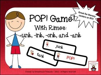 Rimes Pop! Game (-unk, -onk, -ink, -ank rimes)