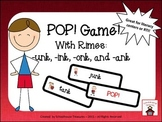 Rimes Pop! Game (-unk, -onk, -ink, -ank rimes)