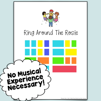 Ring Around The Rosie Easy-To-Play Color-Coded Piano Song Sheet
