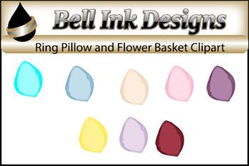 Ring Bearer Pillow and Flower Girl basket Clipart