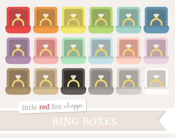 Ring Box Clipart; Jewelry, Wedding, Engagement