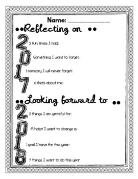 Ring In The New Year-Reflections and Resolutions Worksheets | TpT
