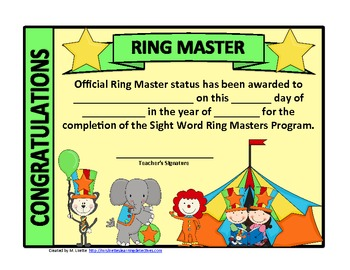 Ring Masters Sight Word Mastery: Level 1