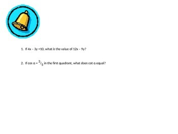 Ring My Bell:  100 Days of High School Test Prep (Mathematics)