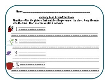 Ring in the New Year! Read/Write the Room and Word Wall Cards