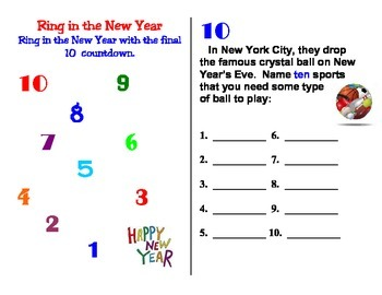 January Ring in the New Year Top 10 Countdown Activity Booklet New Year's