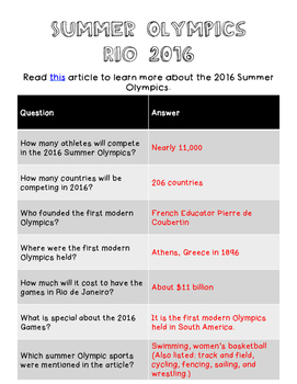 Rio 2016 - Activities for the Olympics