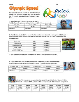 Rio Speed - Speed problems using the 2016 Olympics as a setting