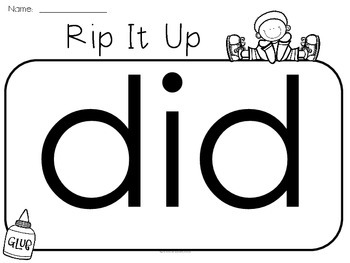 Rip It Up - A Dolch PRIMER Sight Word Activity