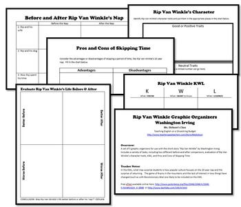 Rip Van Winkle Activity Bundle (Washington Irving) - PDF