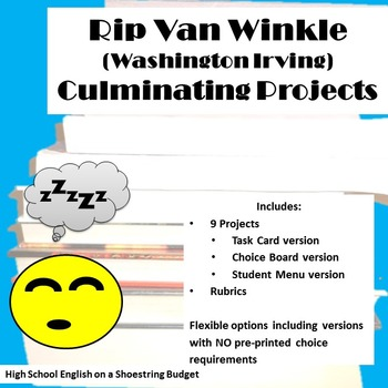 Rip Van Winkle Culminating Projects [Task Cards]  (Washing