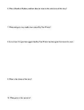 Rip Van Winkle Review Worksheet, Homework, or Test with Detailed Answer Key