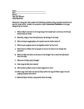 """""""Rip Van Winkle"""" Story Questions"""