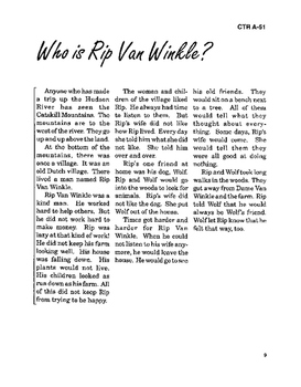 Rip Van Winkle and the Legend of Sleepy Hollow with Student Activities and Key