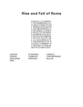 Rise and Fall of Rome Word Search
