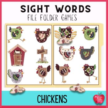 Sight Word File Folder Game: Chickens