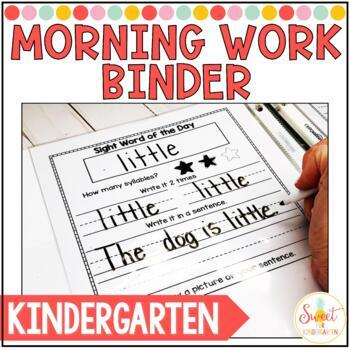Kindergarten Morning Work Binder Distance Learning