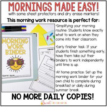 First Grade Morning Work Binder