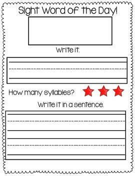Morning Work Binder Sight Word of the Day {Freebie}
