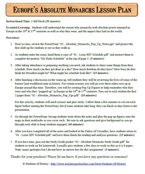 Rise of Absolute Monarchs Complete 1 Day Lesson Plan