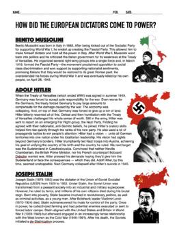 Rise Of Dictators Activity & Worksheets | Teachers Pay Teachers