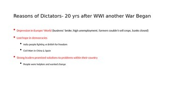 Rise of Dictators World War II