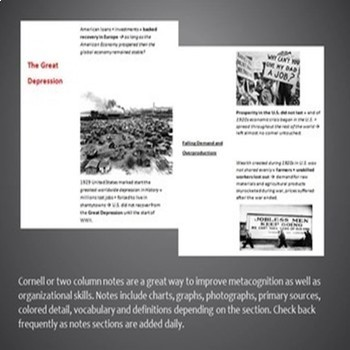Between the Wars / Rise of Fascism Cornell Notes *Bundle* (World History)