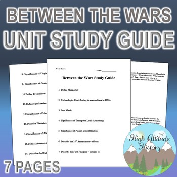 Between the Wars / Fascism Unit Study Guide