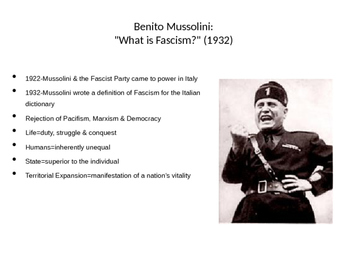 Rise of Fascism: Post-World War I mini lesson/ lecture, PPT