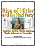 Hitler and Nazi Rise to Power - Reading / Questions / Timeline Assignment (WWII)