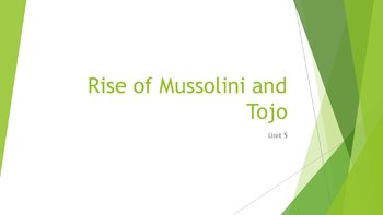 Rise of Mussolini and Tojo PowerPoint, Guided Notes, and Completed Notes