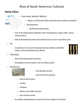 Rise of South American Cultures Notes