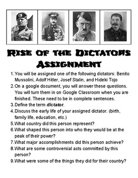 rise of dictators packet answer key