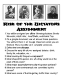 Rise of the Dictators Assignment (World War II)