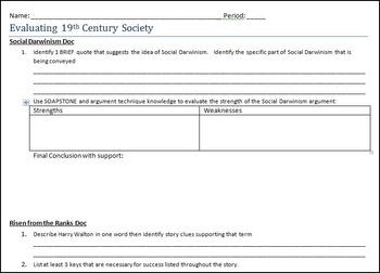 Risen from the Ranks & Social Darwinism Worksheet