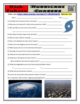 Risk Takers : Hurricane Chasers (career worksheet & free video) - Sub Plans