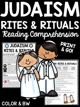 Rites and Rituals of Judaism Reading Comprehension Worksheet Jewish