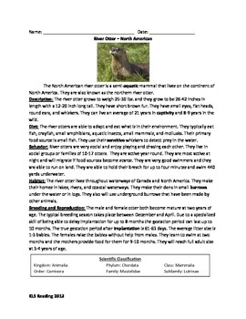 River Otter - North American - review article facts questions vocab info