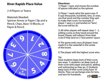 River Rapids Place Value Board Game - Tens, Hundreds, and Thousands