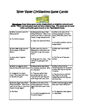 River Valley Civilizations Game Cards