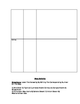 River Valley Civilizations - Graphic Organizer & Map Activity