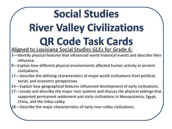 River Valley Civilizations QR Code Task Cards - Multiple Choice Self Checking