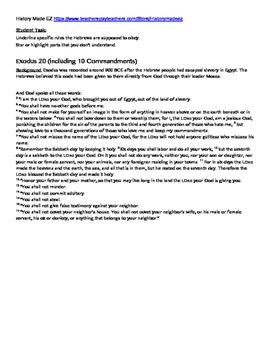 River Valley Primary Sources Lesson- Hammurabi, Exodus, Gilgamesh, Rig Veda