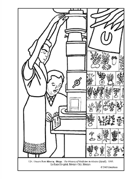 Rivera. Hist. of Med. in Mex.(det). Coloring page & lesson plan ideas