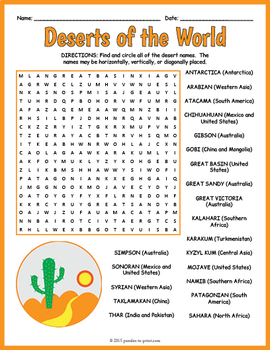World Geography - Deserts of the World Word Search