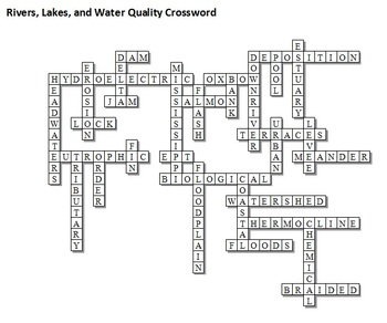 Rivers Lakes And Water Qualiy Unit Crossword Puzzle