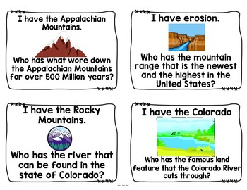 Rivers, Mountains, & Geography Roadtrip! I Have, Who Has Review Game